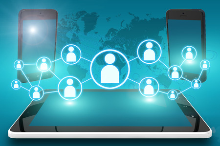 Electronic devices illustration with social icons and tablet computer and mobile cellphones on cyan digital world map background Stock Photo