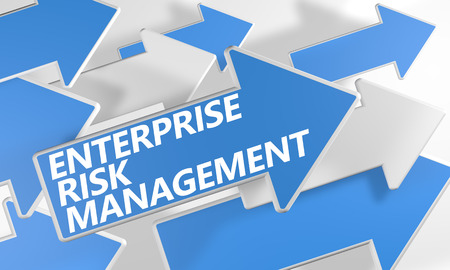erm: Enterprise Risk Management  3d render concept with blue and white arrows flying over a white background. Stock Photo