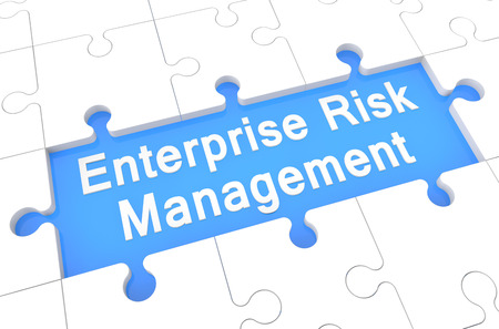 erm: Enterprise Risk Management  - puzzle 3d render illustration with word on blue background