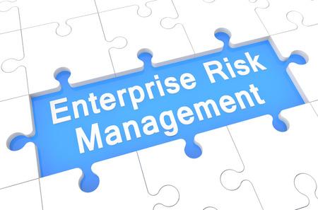 Enterprise Risk Management  - puzzle 3d render illustration with word on blue background