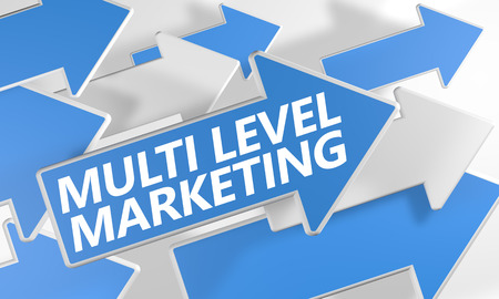 mlm: Multi Level Marketing 3d render concept with blue and white arrows flying over a white background. Stock Photo