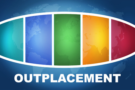 Outplacement text illustration concept on blue background with colorful world map Stock Photo