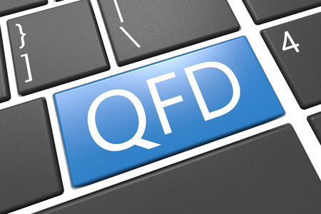 function key: Quality Function Deployment - keyboard 3d render illustration with word on blue key Stock Photo