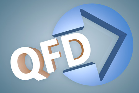 Quality Function Deployment - acronym 3d render illustration concept with a arrow in a circle on blue-grey background illustration