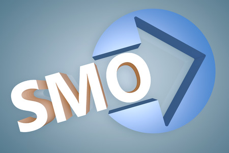 Social Media Optimization - acronym 3d render illustration concept with a arrow in a circle on blue-grey background illustration