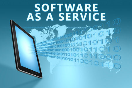 as: Software as a Service illustration with tablet computer on blue background