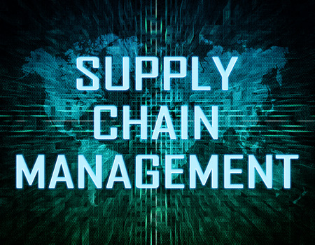 Supply Chain Management text concept on green digital world map background  photo