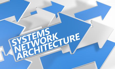 Systems Network Architecture 3d render concept with blue and white arrows flying over a white background. photo