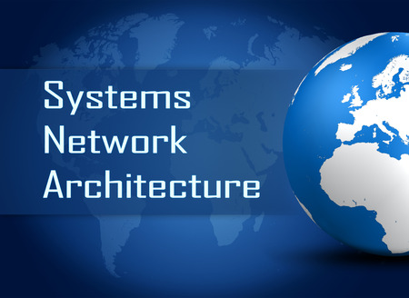 Systems Network Architecture concept with globe on blue world map background photo