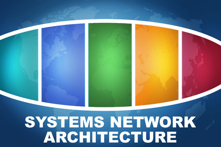 Systems Network Architecture text illustration concept on blue background with colorful world map illustration
