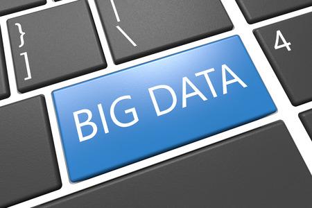 Big Data - keyboard 3d render illustration with word on blue key illustration