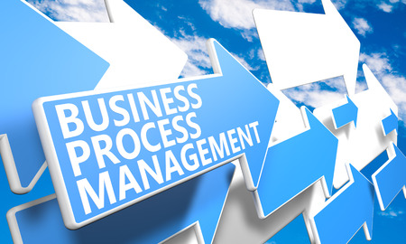 bpm: Business Process Management 3d render concept with blue and white arrows flying in a blue sky with clouds Stock Photo