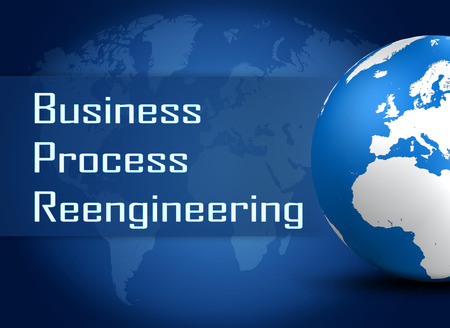 bpm: Business Process Reengineering concept with globe on blue world map background Stock Photo