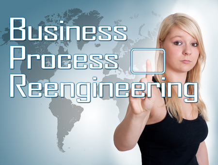 bpr: Young woman press digital Business Process Reengineering button on interface in front of her