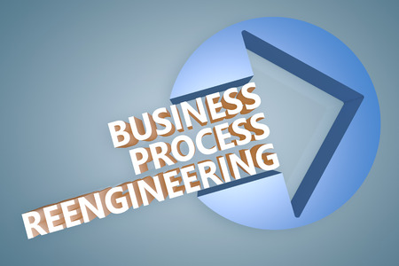 business process reengineering: Business Process Reengineering - text 3d render illustration concept with a arrow in a circle on blue-grey background