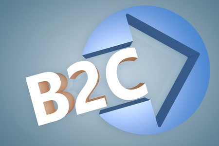 Business to Customer - acronym 3d render illustration concept with a arrow in a circle on blue-grey background illustration