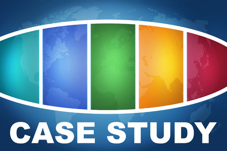 case studies: Case Study text illustration concept on blue background with colorful world map