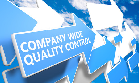 product design specification: Company Wide Quality Control 3d render concept with blue and white arrows flying in a blue sky with clouds Stock Photo