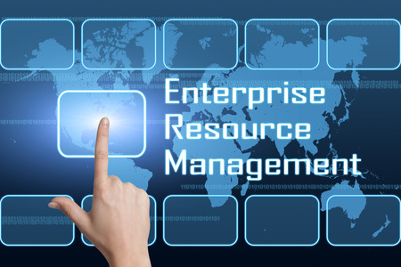 Enterprise Resource Management  concept with interface and world map on blue background