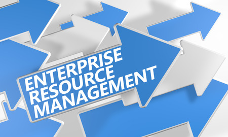 erm: Enterprise Resource Management 3d render concept with blue and white arrows flying over a white background. Stock Photo