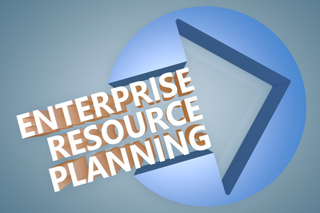Enterprise Resource Planning - text 3d render illustration concept with a arrow in a circle on blue-grey background illustration