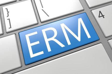 erm: Enterprise Risk Management  - keyboard 3d render illustration with word on blue key Stock Photo