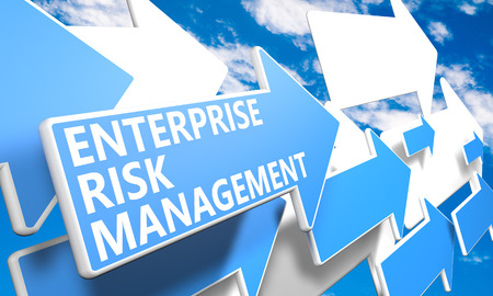 Enterprise Risk Management  3d render concept with blue and white arrows flying in a blue sky with clouds
