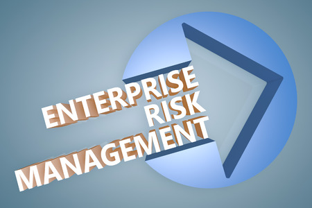 Enterprise Risk Management  - text 3d render illustration concept with a arrow in a circle on blue-grey background Stock Photo