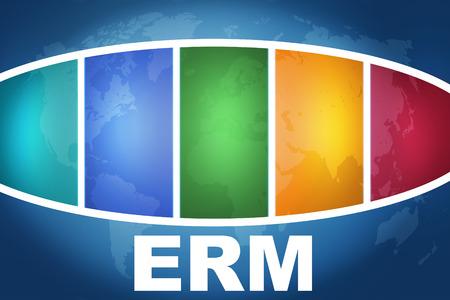 erm: Enterprise RiskResource Management text illustration concept on blue background with colorful world map Stock Photo