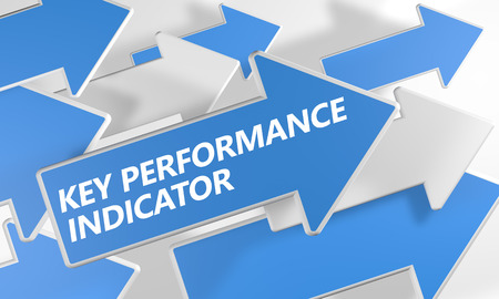 Key Performance Indicator 3d render concept with blue and white arrows flying over a white background. photo