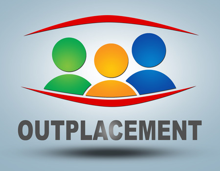 Outplacement text illustration concept on grey background with group of people icons Stock Photo