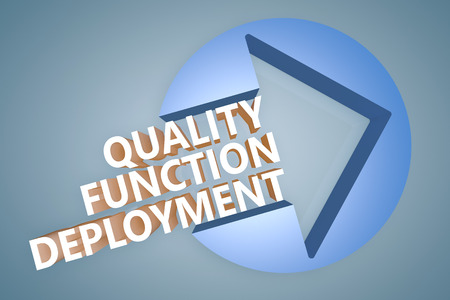 Quality Function Deployment - text 3d render illustration concept with a arrow in a circle on blue-grey background illustration