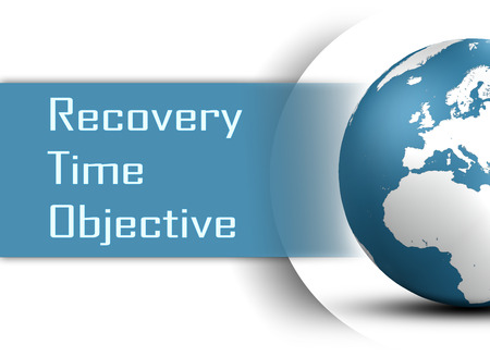 Recovery Time Objective concept with globe on white background