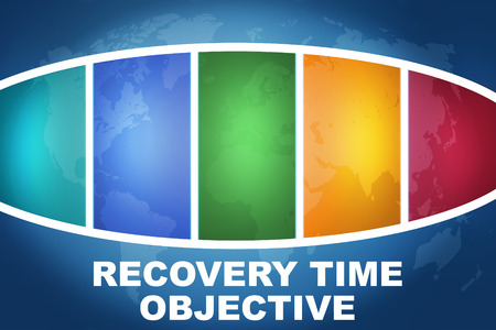time critical: Recovery Time Objective text illustration concept on blue background with colorful world map