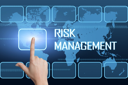 Risk Management concept with interface and world map on blue background photo