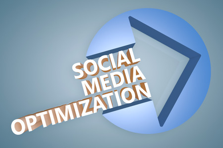 Social Media Optimization - text 3d render illustration concept with a arrow in a circle on blue-grey background illustration