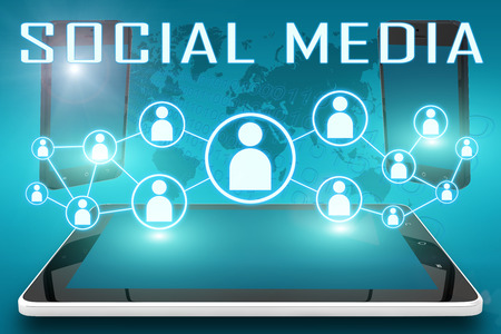 Social Media - text illustration with social icons and tablet computer and mobile cellphones on cyan digital world map background illustration