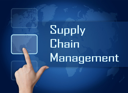 variance: Supply Chain Management concept with interface and world map on blue background Stock Photo