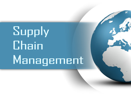 Supply Chain Management concept with globe on white background photo