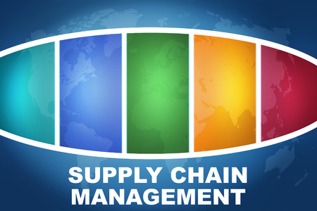 Supply Chain Management text illustration concept on blue background with colorful world map illustration