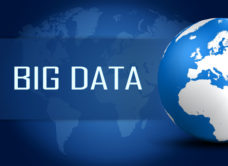 Big Data concept with globe on blue world map background photo