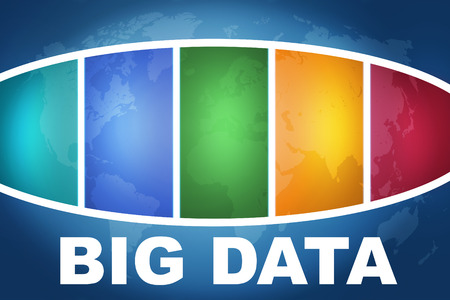 Big Data text illustration concept on blue background with colorful world map illustration