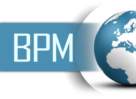 bpm: Business Process Management concept with globe on white background Stock Photo