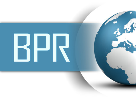bpr: Business Process Reengineering concept with globe on white background
