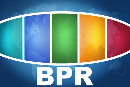 bpr: Business Process Reengineering text illustration concept on blue background with colorful world map