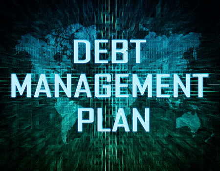 debt management: Debt Management Plan text concept on green digital world map background