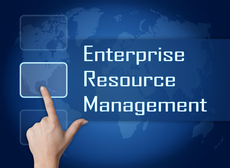 erm: Enterprise Resource Management  concept with interface and world map on blue background