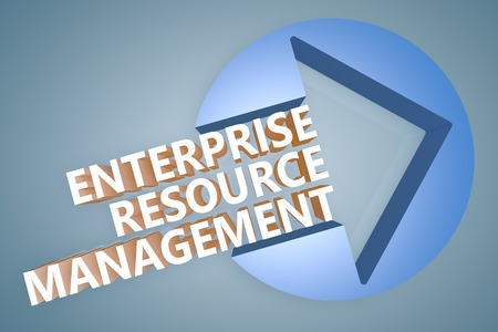 Enterprise Resource Management  - text 3d render illustration concept with a arrow in a circle on blue-grey background