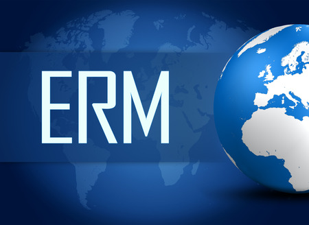 erm: Enterprise Risk Management  concept with globe on blue world map background