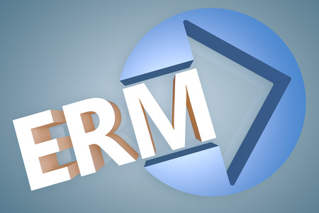 erm: Enterprise Risk Management  - acronym 3d render illustration concept with a arrow in a circle on blue-grey background Stock Photo